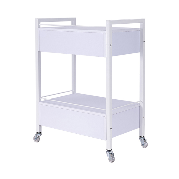 white beauty salon trolley with roller wheels